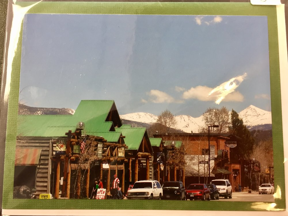 At our gift shop on Frisco Main Street, we sell this locally-made card that has a photo of Frisco Main Street.