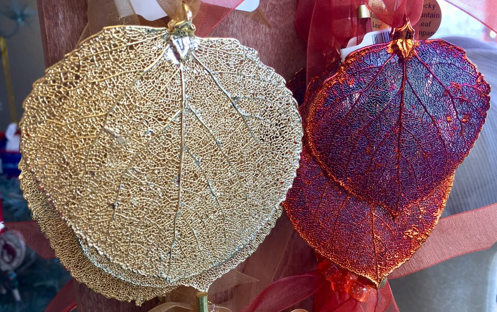 These ornaments are made from real Colorado aspen leaves!