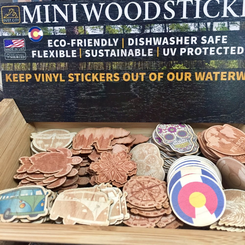 Adorable and rugged wood stickers from Dust City, a Denver company.