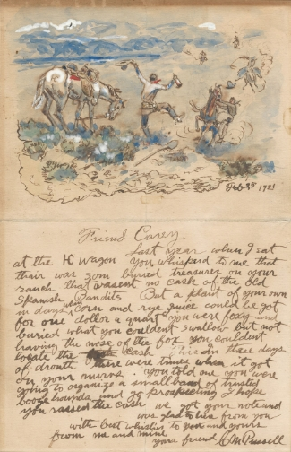C.M. Russell illustrated letter to Harry Carey