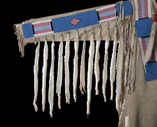 Detail - Nez Perce Men's Warshirt with Ermine Drops and Classic Beadwork