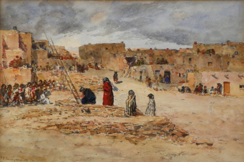 Frank Paul Sauerwein Kiva At Acoma Pueblo Watercolor 11 1 2