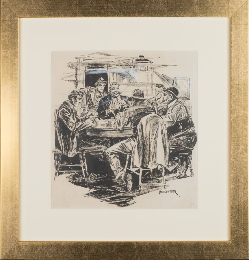 Lot 77 - Harry Kane Kirchner (1912 - 1988) Untitled: Poker Game Sold $182
