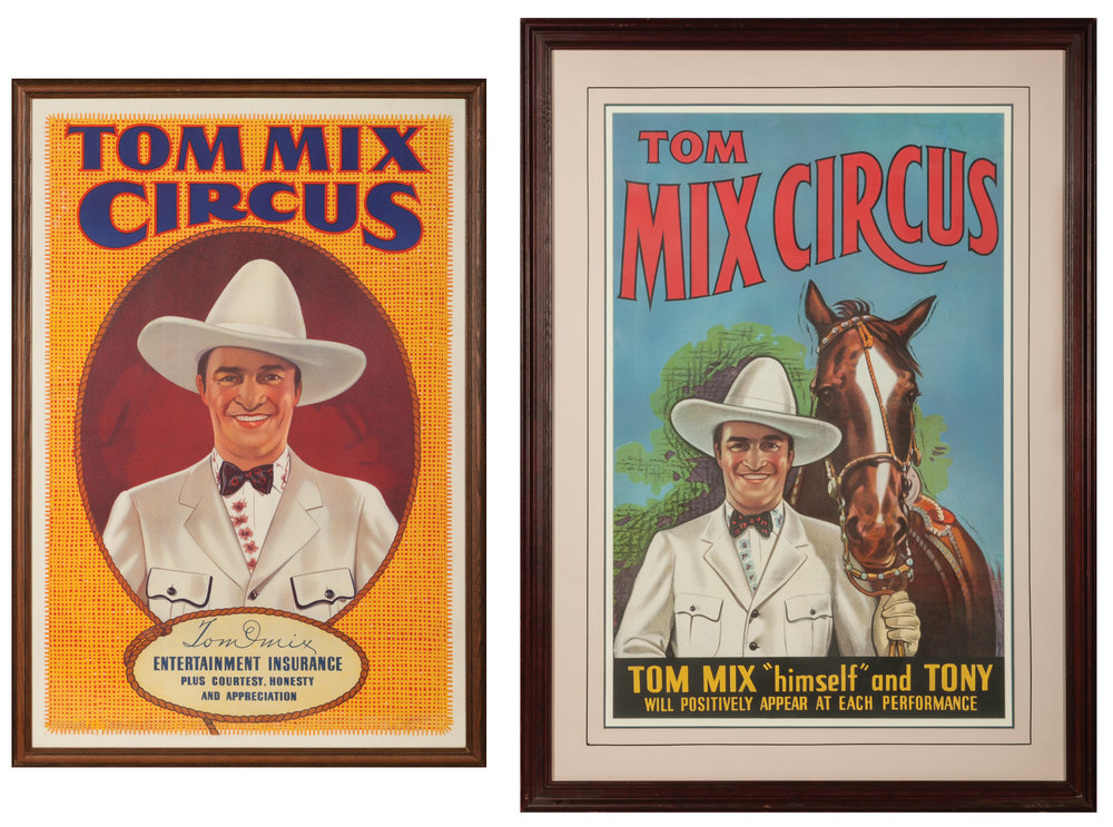 Lot 43: Pair of Tom Mix Circus Original Lithograph Posters.   Brian Lebel's Mesa Auction - January 21, 2017 Sold $2,242