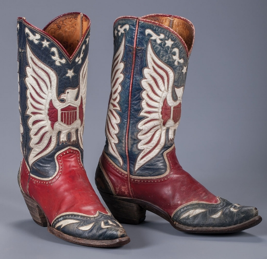 Roy Rogers' double eagle boots that he gifted to Snuff. Estimate $3,000-3,500.
