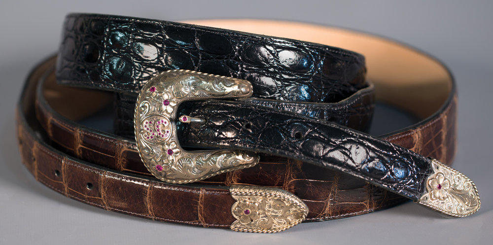 "Lot 82: Edward H. Bohlin Fancy ""SG"" Buckle with Belt, est. $3,000-3,500 Provenance: From the Estate of Snuff Garrett."