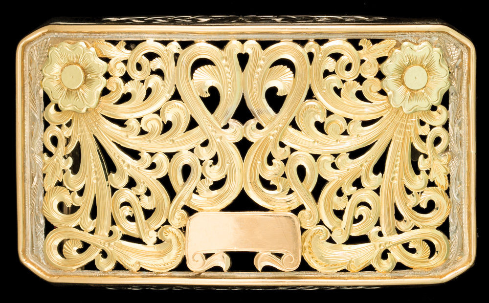 Lot 85: 18K Gold Filigreed Buckle by the Distinguished Hudson Silver of Dallas, Texas, est. $10,000-14,000 EX: Harry Hudson Collection.
