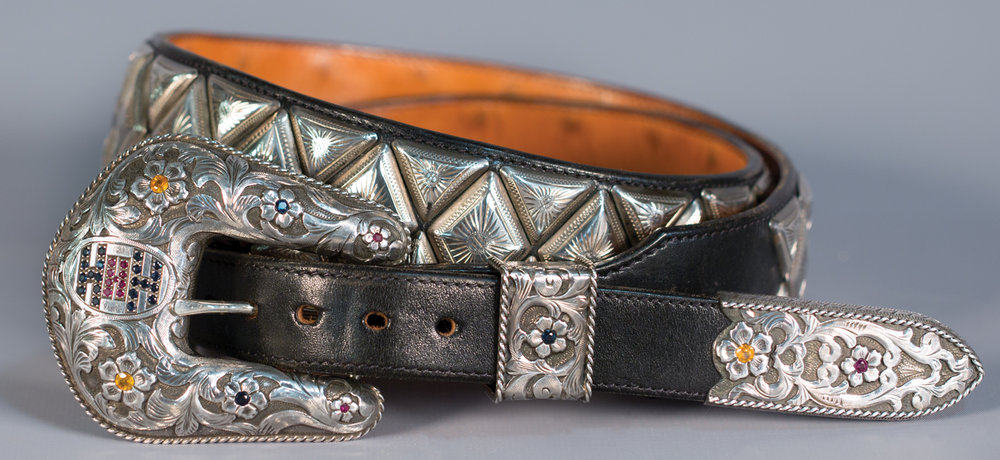 Lot 88: Edward H. Bohlin Silver and Jeweled Buckle Set, Sold $7,670 EX: Harry Hudson Collection