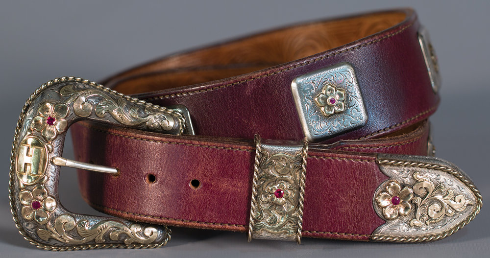 Lot 89: Edward H. Bohlin 6A Buckle Set with Concho Belt, est. $7,000-8,000 EX: Harry Hudson Collection.