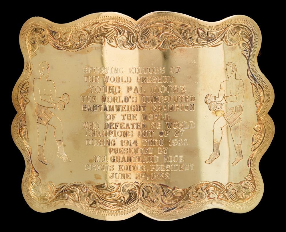 Lot 92:Edward H. Bohlin Boxing Trophy Buckle, est. $6,000-9,000 EX: Harry Hudson Collection