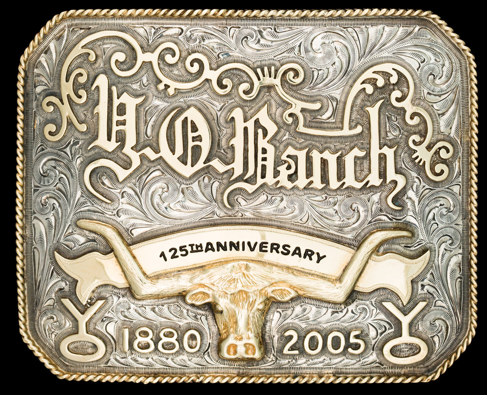 Lot 93:Y-O Ranch Gold & Sterling Trophy Buckle, est. $5,500-7,500 EX: Harry Hudson Collection