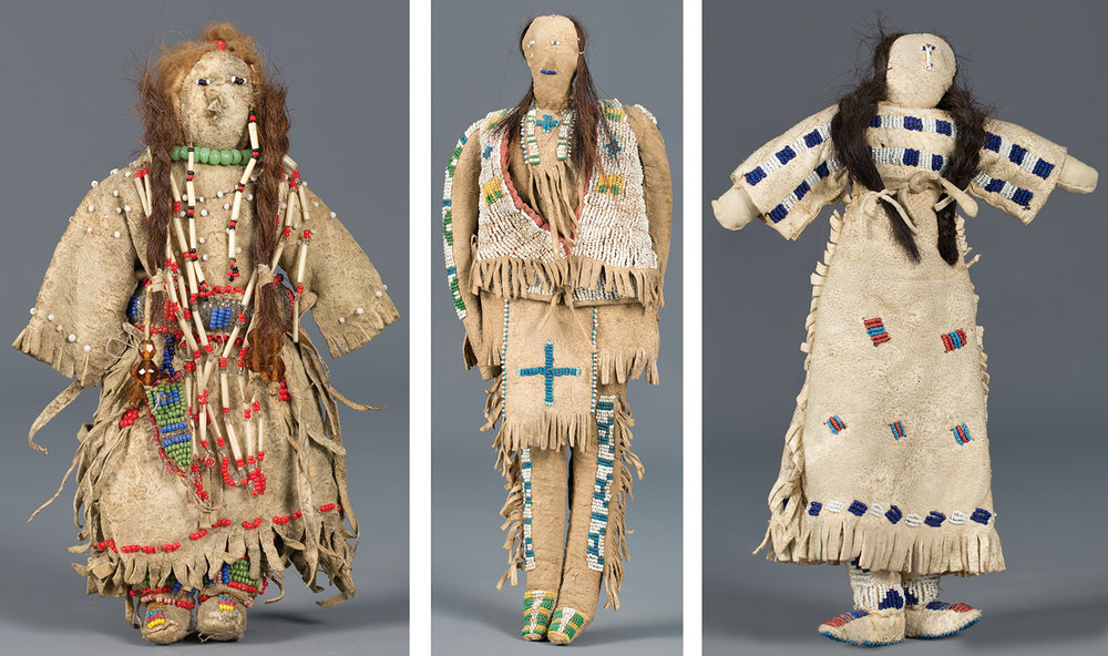 Lot 230: Plains Beaded Doll, est. $6,000-7,000; Lot 231: Beaded Sioux Male Doll, est. $4,500-5,500; Lot 232: Sioux Beaded Doll, est. $2,000-2,500.