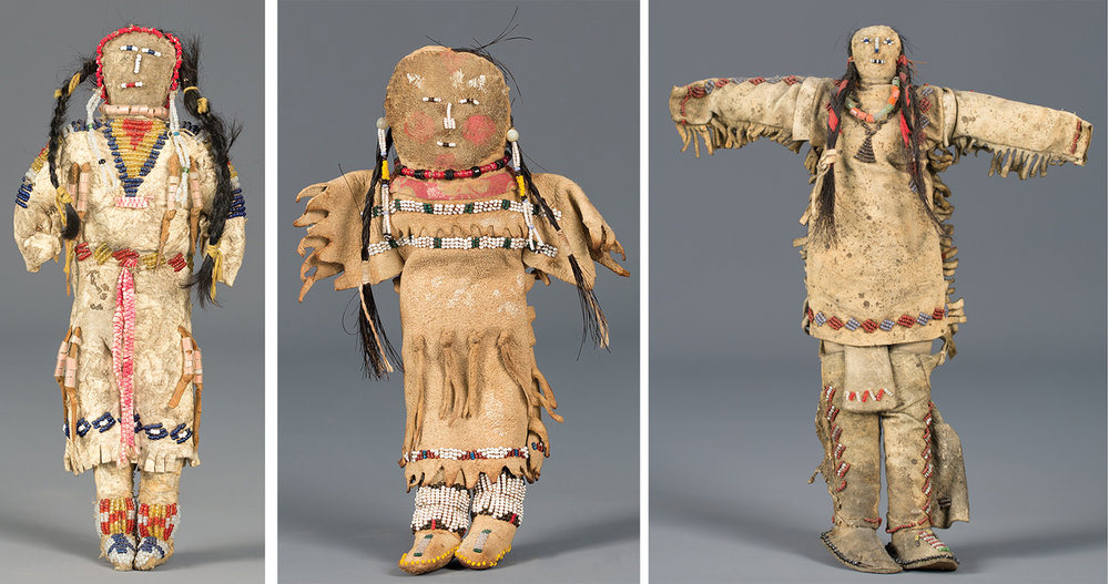 Lot 233: Lakota Beaded Doll, est. $1,200-1,600; Lot 234: Cheyenne / Arapaho Beaded Doll, est. $1,200-1,600; Lot 235: Cheyenne Beaded Male Doll, est. $1,200-1,800.