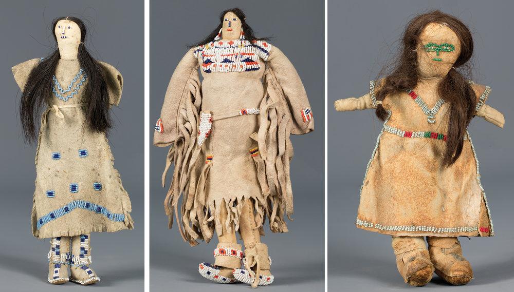 Lot 236:Plains Beaded Doll, est. $800-1,200; Lot 237:Northern Plains Beaded Doll, est. $800-1,400; Lot 238: Early Plains Indian Beaded Doll, est. $500-800.