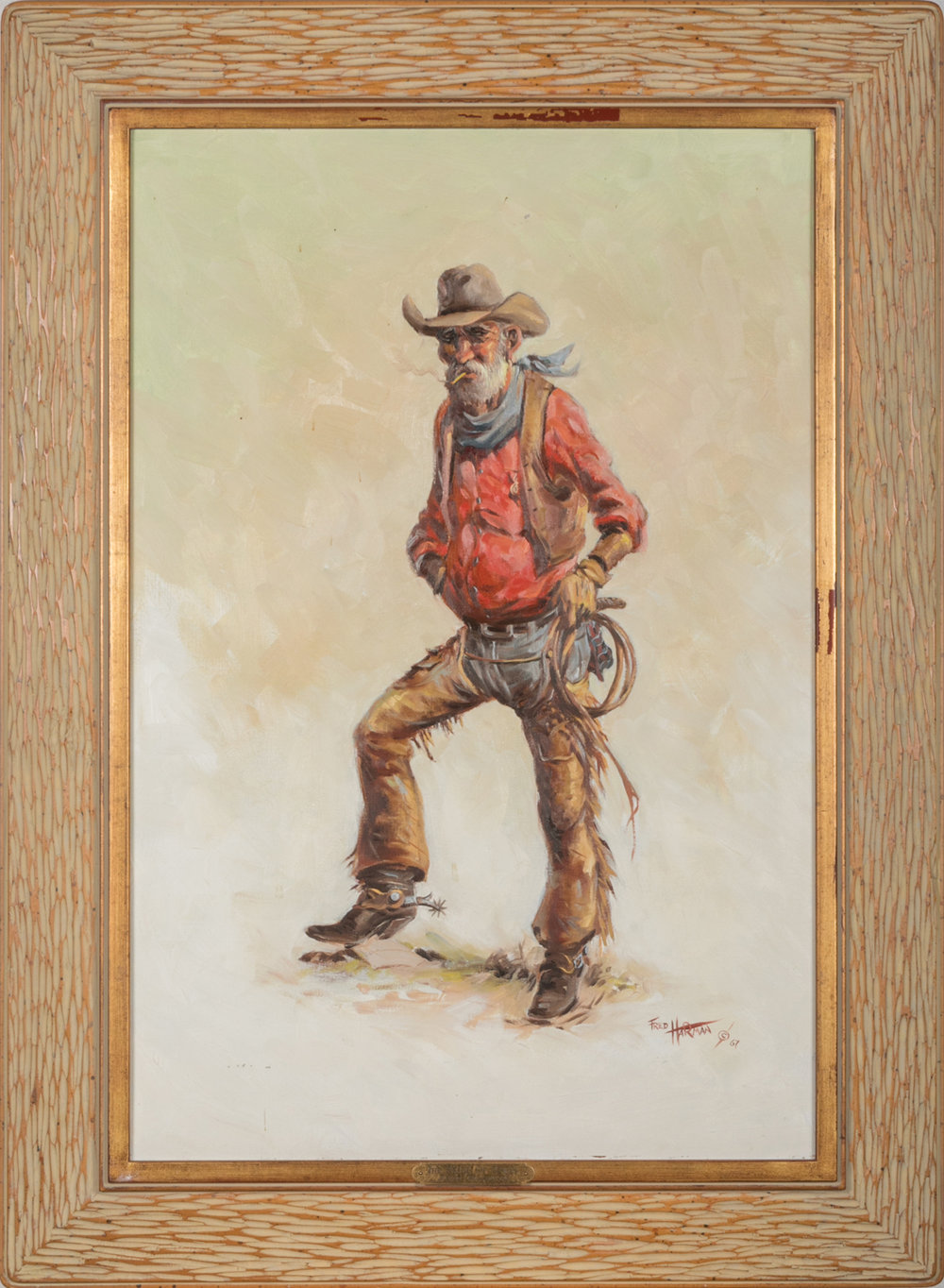 "Lot 169, Fred Harman, The Pride of Texas, Oil on canvas, 24"" x 36"".  Literature: The Cowboy in Art, by Ed Ainsworth, pictured on page 132. Book included. The Great West in Paintings,  by Fred Harman, 1969, pictured on page 140. Fred Harman. Provenance: From the Estate of Snuff Garrett. Est. $2,000-3,000."