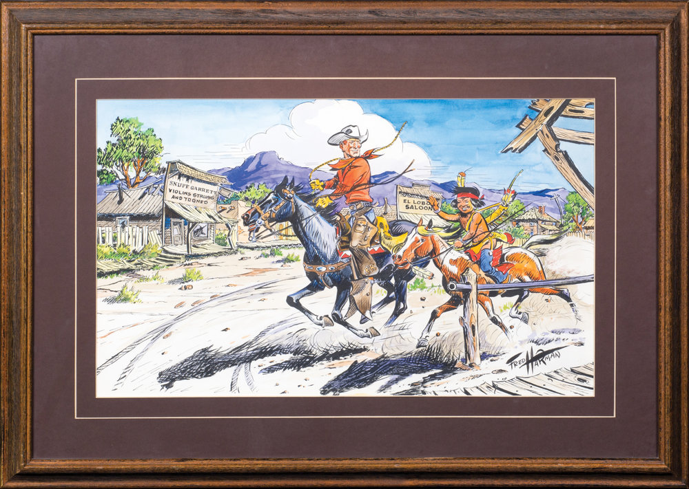 "Lot 164, Fred Harman, Red Ryder Illustration, Watercolor & ink, 12 1/2"" x 21"" Provenance: From the Estate of Snuff Garrett. Est. $2,000-3,000."