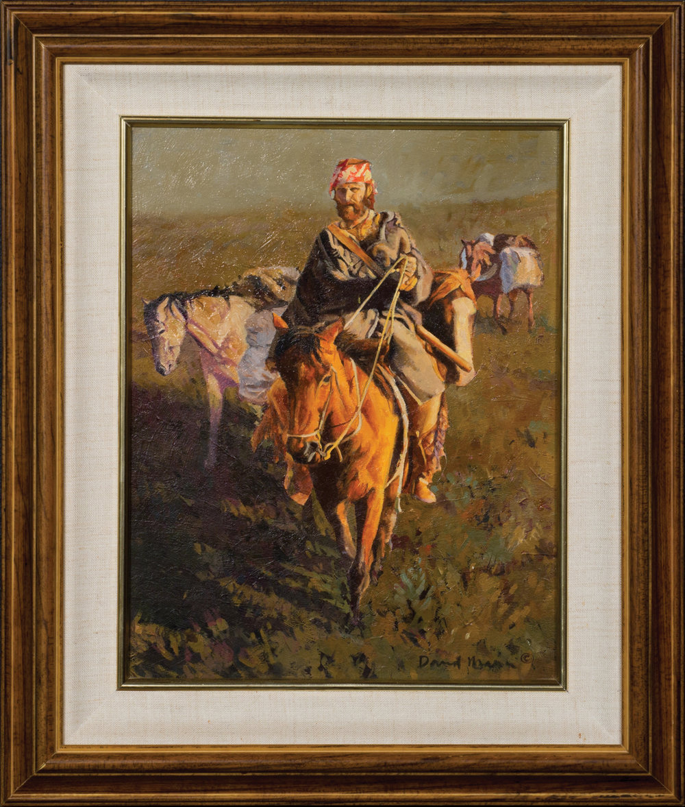 "Lot 261, David Mann, Untitled: Mountain Man, Oil on board, 14"" x 11"". Sold $1,180."