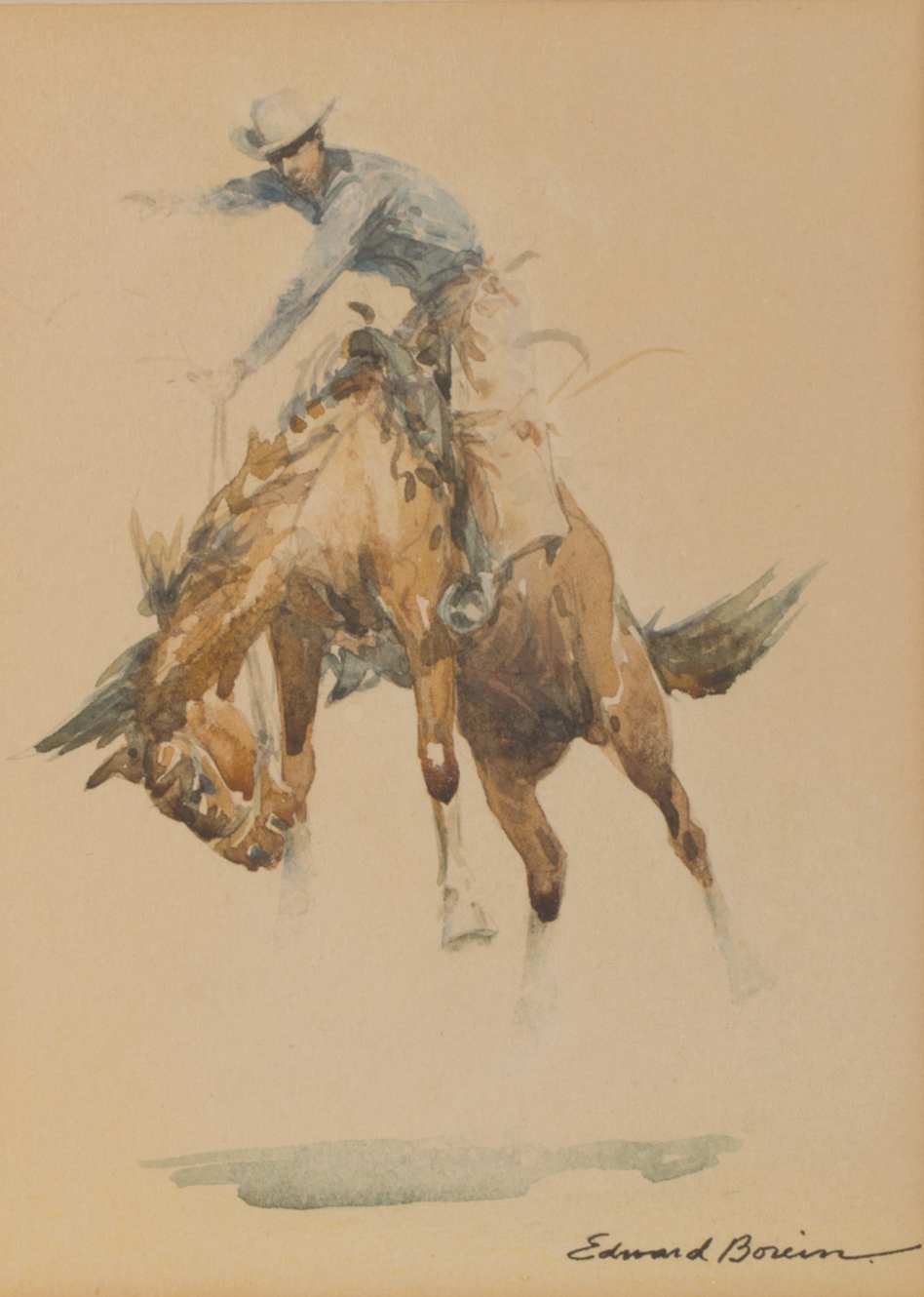 "Edward Borein, Bucking Bronco,  Watercolor, 7 1/4"" x 5 1/2"""