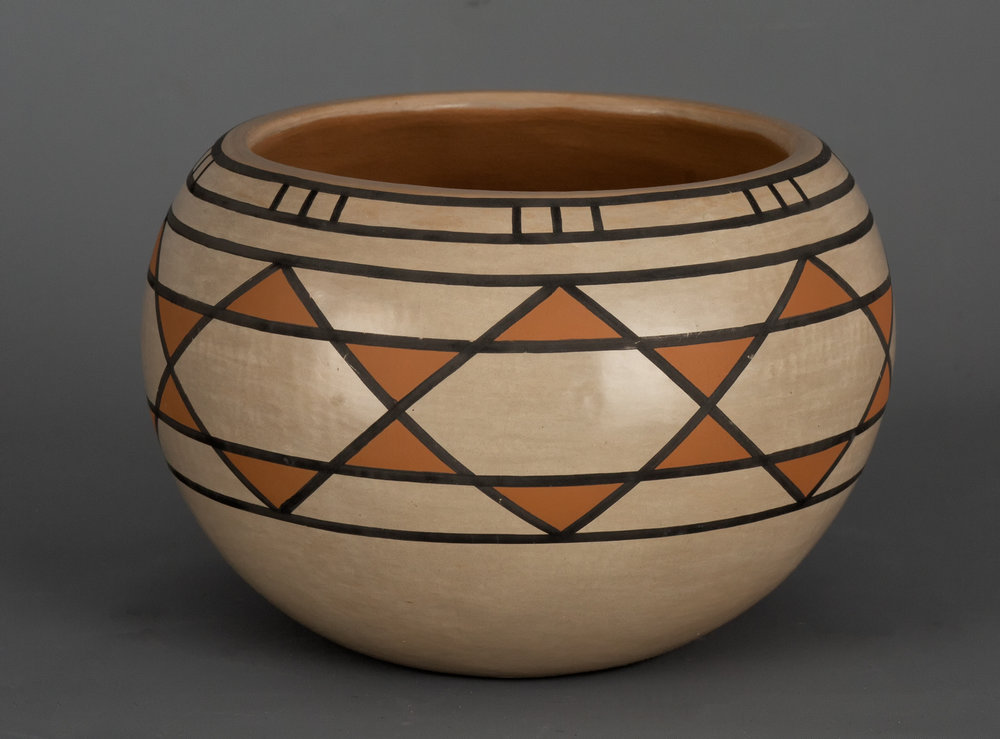 "Blue Corn Polychrome Pot A striking San Ildefonso Pueblo polychrome jar by Blue Corn (Crucita Gonzales Calabaza, 1921-1999). With classic Blue Corn colors, and a traditional star design. Signed on base: Blue Corn / San Ildefonso / Pueblo. 8"" x 5 3/4"".    Lot 188, Brian Lebel's Old West Auction - June 23rd, 2018, Santa Fe, NM. Estimate $4,000-5,000."