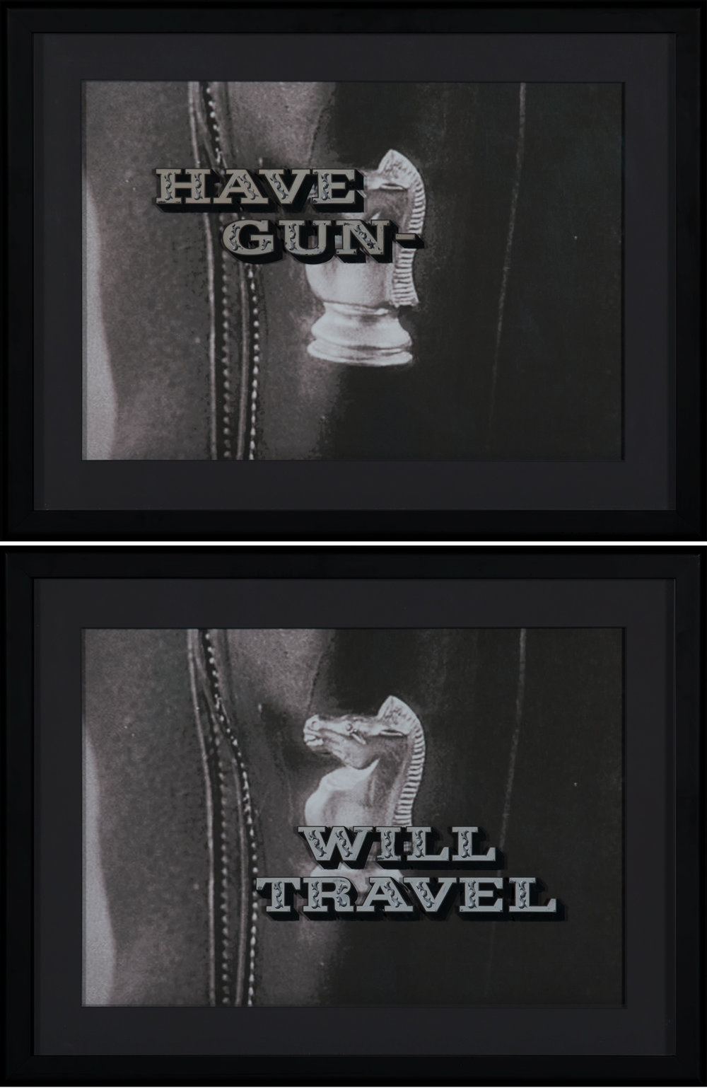 "Original Painted Glass Title Art for Have Gun - Will Travel Lot of 2 framed original, production-used, glass television title art plates for ""Have Gun - Will Travel."" Consisting of two hand-painted panels, which were overlaid during the television main title sequence: ""Have Gun -"" and then fading in, ""Will Travel."" A single panel with all four words was never used. Framed in front of a screen image of Paladin's iconic gun belt and holster, just as it would have appeared in the opening credits. The framed panels are then framed again, creating an interesting display and a protective outer glass layer. Both are framed to 21 ½"" x 28"" overall. Extremely rare and beautifully preserved. Provenance: From Pacific Title Company, Hollywood, CA to current owner.   Lot 215, Brian Lebel's Old West Auction - June 23rd, 2018, Santa Fe, NM. Estimate $30,000-40,000."