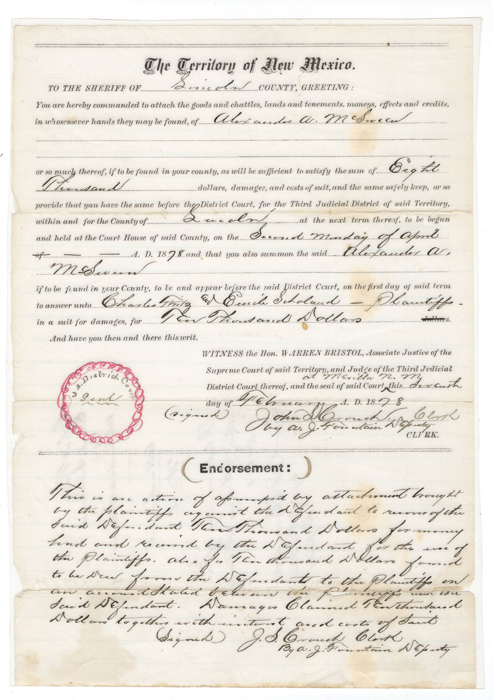 Document that Launched the Lincoln County War - Lot 713