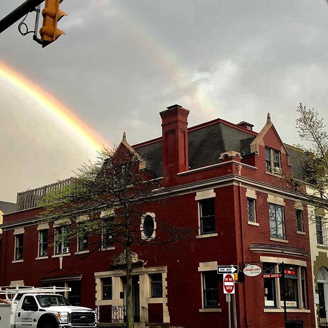 Today!! Photo by @susanmariehair #downtowneaston #easton #lehighvalley #jmorgan #beauty #rainbow #rainbows
