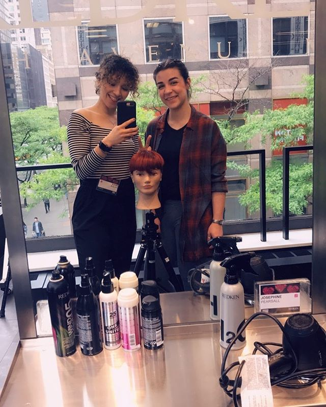Kayla and Abigail at The Redken Exchange! 2 more weeks and the ladies will be level 1 stylists at our salon! @redken #eastonpa #lehighvalleystylists #nyc
