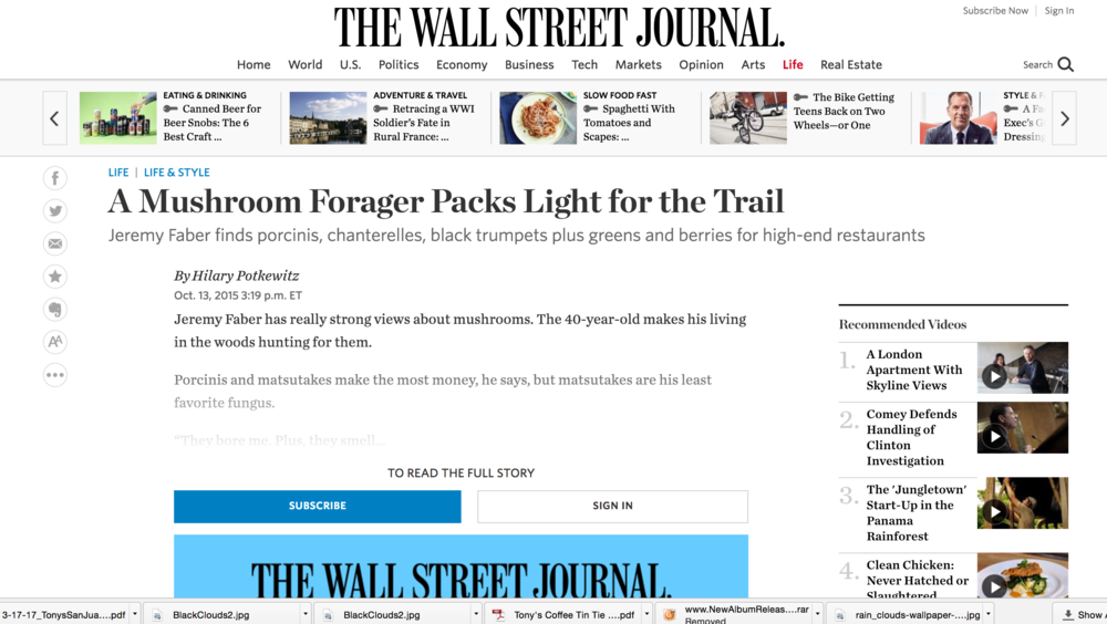 Wall Street Journal: A Mushroom Forager Packs Light for the Trail
