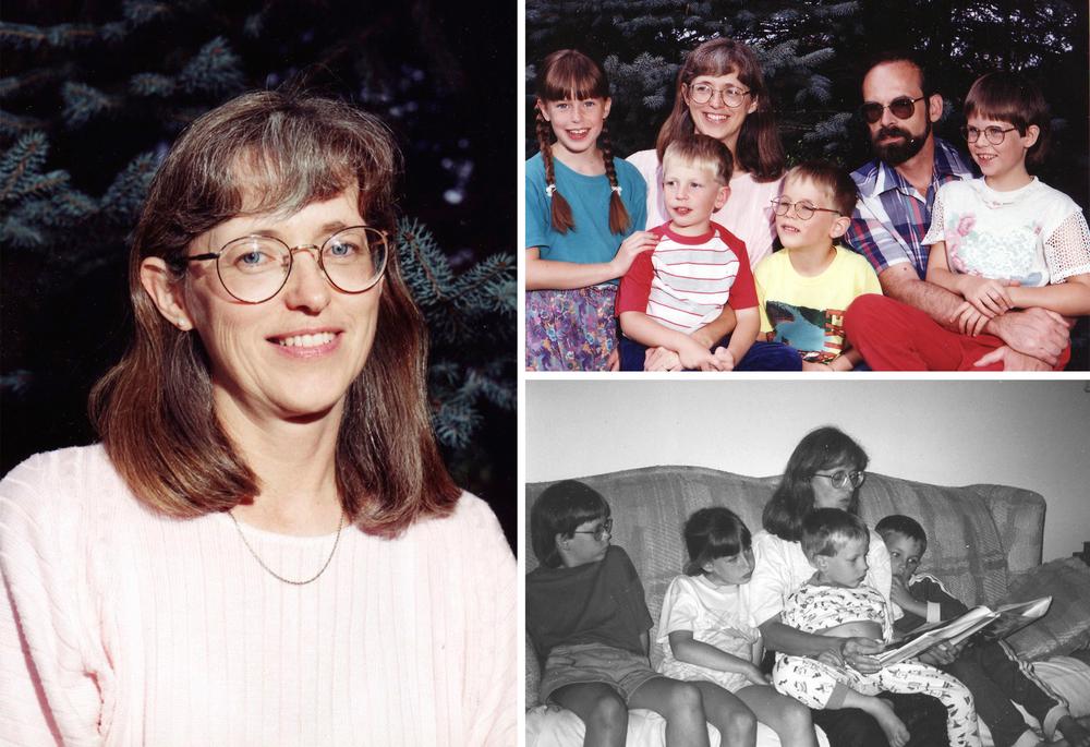 [Left] Aunt Tina, [Right/Top]: Aukema Family: Anna, Robert, Aunt Tina, Everett, Uncle John, Karen, [Right/Bottom]: Karen, Anna, Aunt Tina, Robert, Everett.