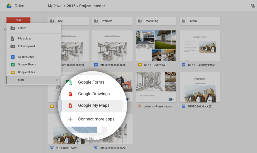 Anyone using Google Drive (including Drive for Work) can now create, share, and manage custom maps from Drive using Google My Maps.  Read more here:  http://googleforwork.blogspot.com/2015/07/create-share-and-manage-custom-maps.html    https://plus.google.com/+AlejandroFranceschi/posts/GdELycZsgsQ