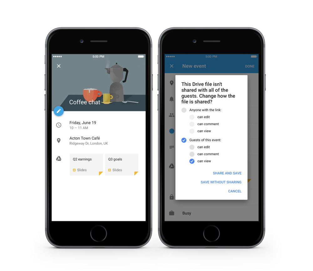 AWESOME!   Google Drive  originally shared:   You can now add files from Google Drive to Google Calendar events on Android, iOS, and the web. Learn more at  http://goo.gl/dkMUp7 .   https://plus.google.com/+AlejandroFranceschi/posts/6C2oA1uzhZD