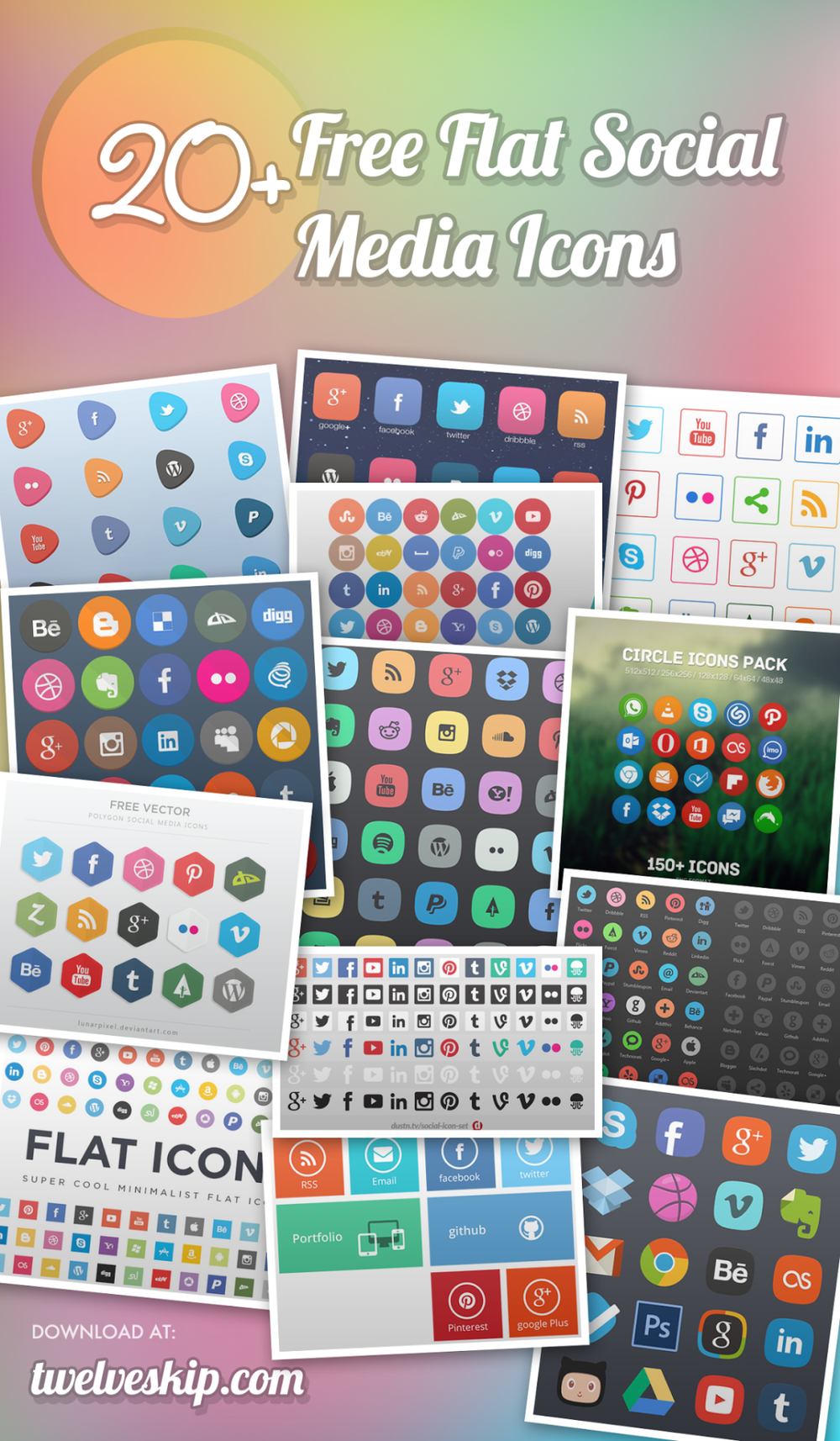 One can never have too many icons in their library, true? | #Design #iconspack ▼ Reshared Post From Pauline Cabrera ▼ 24 Beautifully Designed Flat Social Media Icon Sets [Updated] Looking for sleek social media icons you can use for your website/blog? Here's a huge collection of different flat icon sets you can download for free, get them now at: http://www.twelveskip.com/resources/icons/982/quality-sets-of-flat-social-media-icons _PS: Please refresh for the updated post!!_ http://click-to-read-mo.re/p/7u1X/53413f12