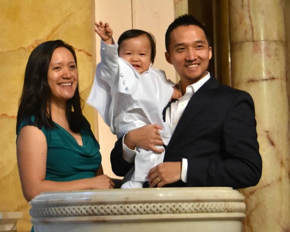 Newly baptized, Jake Kim and his parents, Sungbin & Christina Kim.