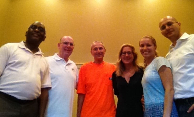 Left to Right: Anthony Stewart-Gilkes, Fr. Bill Waters, O.S.A., Ed Reihl, Christine Donahue, Hyda Borges and Hal Borges