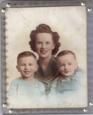 Denis Kelly and his older brother Patrick, with their mother. c.1946