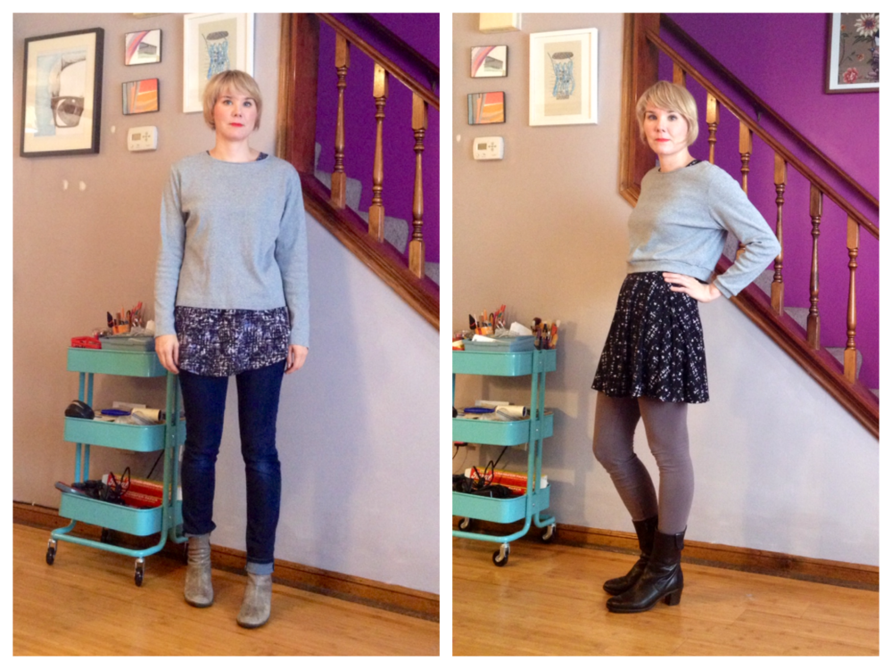 BEFORE AND AFTER: I'm into cropped sweaters this season. I like them kind of boxy, and just above the waist layered over dresses and leggings. That way in this crazy hot and cold weather, it can just be thrown on as an extra layer. Check out how I made this frumpy dumpy thrift store sweater into a cute crop in just 30 minutes.