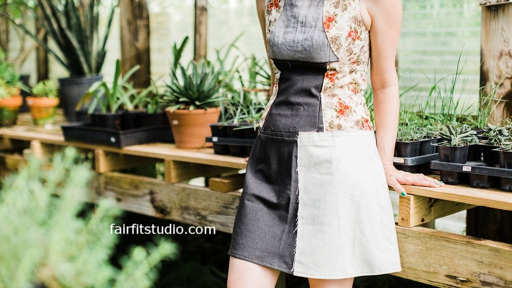 Learn and Make the Fair Fit Dress -  Here is a version of a raw finish garment that will be your wearable muslin that helps you learn draping, fit and proportion.