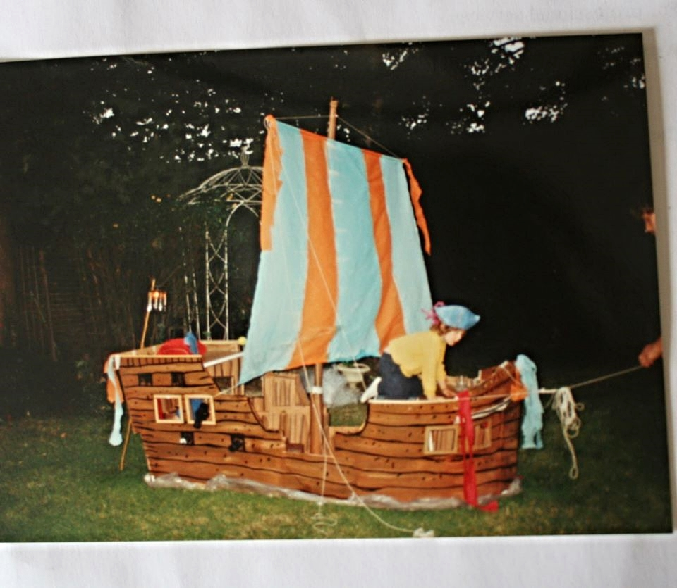 A pirate ship Cyril made entirely from cardboard