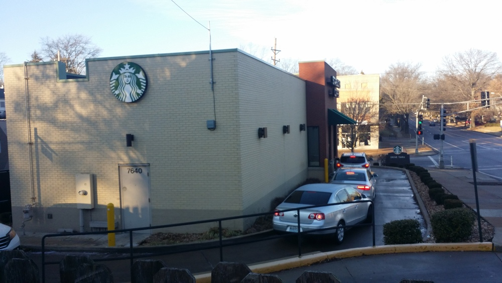 This Starbucks sits at the bottom of one of the toughest hills on the Saint Louis Marathon Course. It is steep and long enough to get your attention. Sitting in the drive through is a Saturday morning ritual for so many. Seems like a long time to wait for coffee.