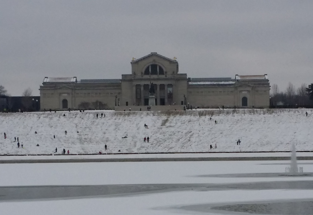 Art Hill is the place to sled in Saint Louis. Even without a ton of snow, there was much joy in the hill today.