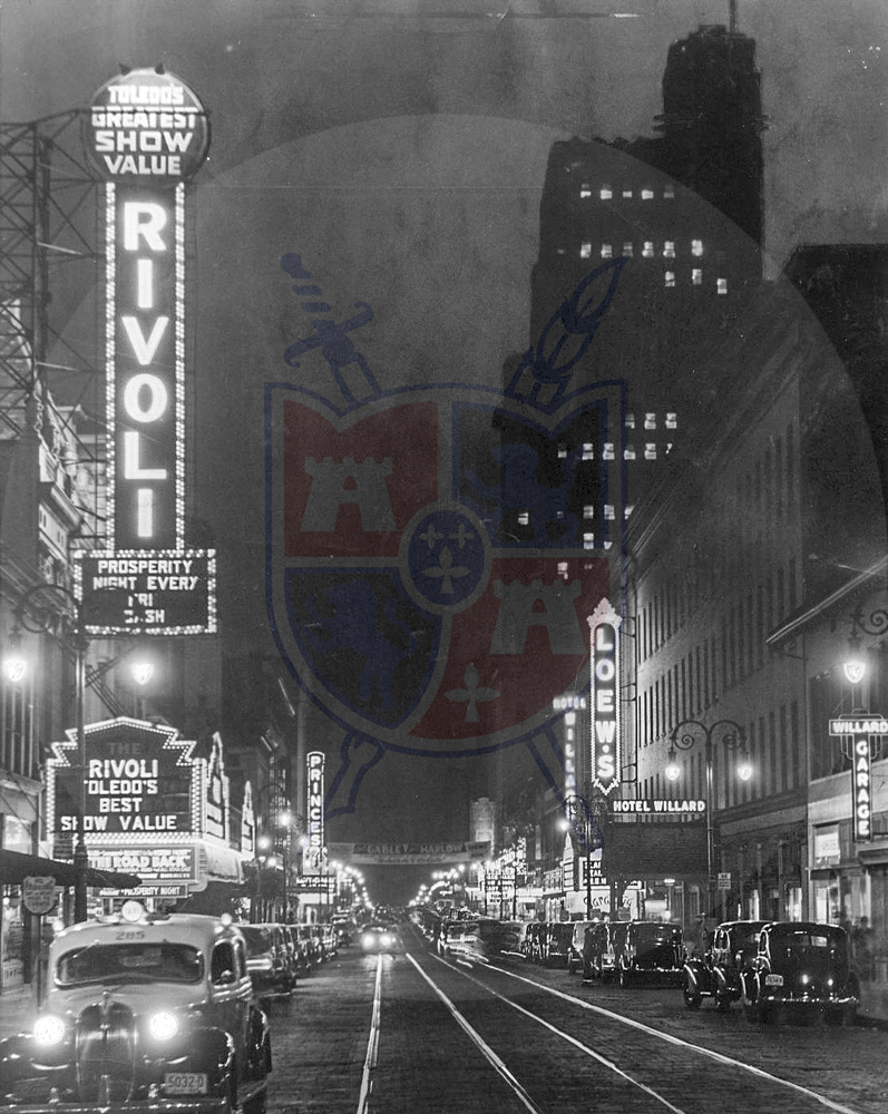 Toledo night life along St. Clair Street in 1937, showing the Rivoli Theater, Loew's, Prince's, and the Hotel Willard.