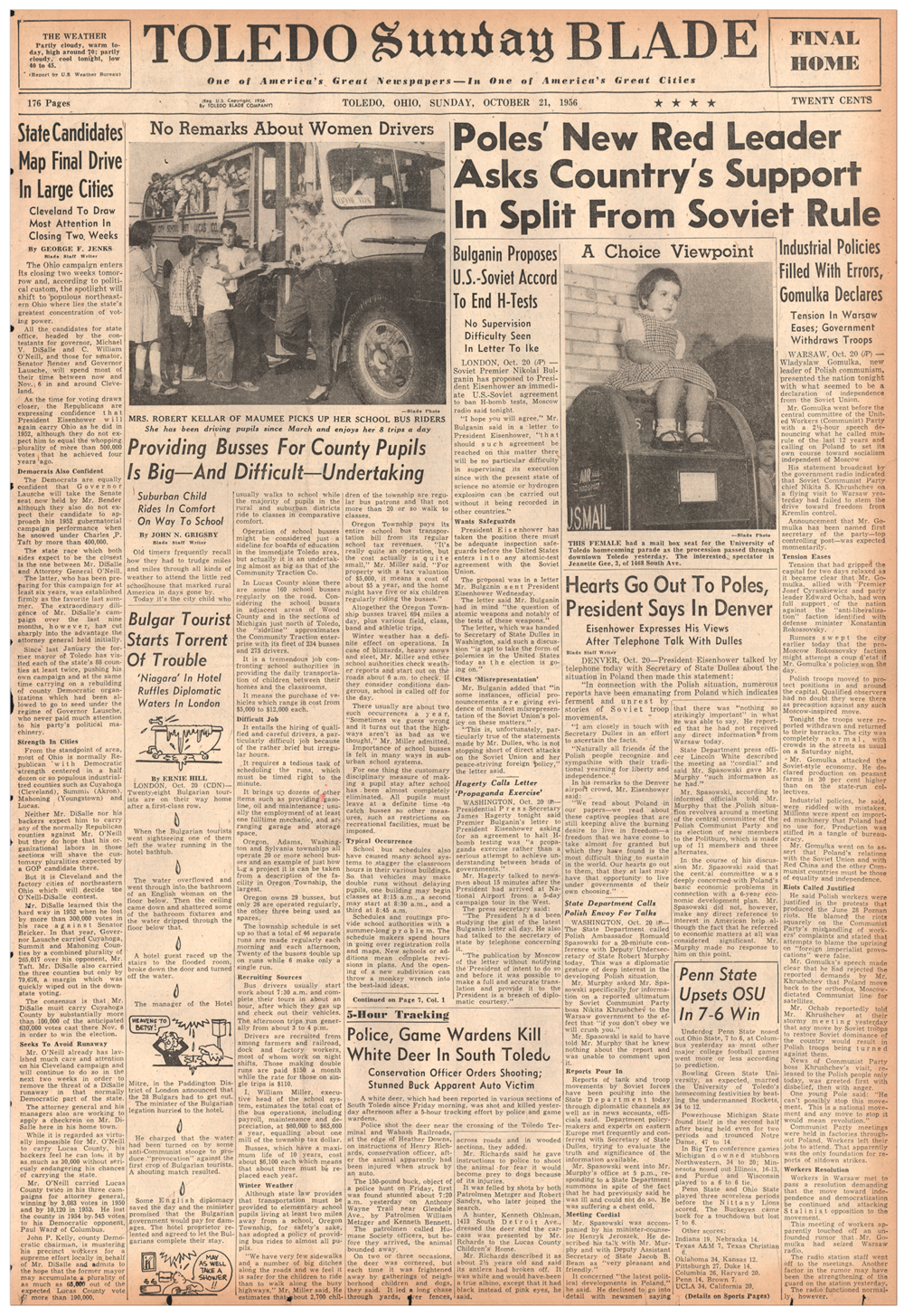 Sample from October 21, 1956 shown