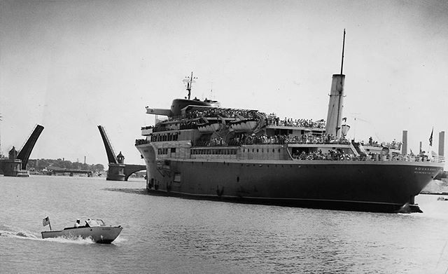 "#mondaymemories: ""SS Aquarama makes maiden stop in Toledo""  When people call Toledo a port city, it's usually in reference to the freighters hauling tons of iron ore, bulk grains, and other commodities to and from the shores of northwest Ohio.  Sixty years ago, though, it had an added connotation: Port of call. Toledo was a maiden stop for the Great Lakes-bound cruise ship the SS Aquarama.  Pictured in this July 1, 1956, Blade archive photo by Dick Greene, as it prepares to clear the Cherry Street Bridge, the 520-foot long luxury liner made its first visit to Toledo on June 30 of that year. Owned by the Michigan-Ohio Navigation Co., it was the first cruise ship to visit the Glass City in at least 20 years.  Throngs gathered at the Middlegrounds dock at the foot of Monroe Street to get a look at the ship. Two thousand adventurous souls bought a ticket for its first five-hour tour of Lake Erie; more than 13,000 would sail on the nine deck ship during its inaugural three-day Toledo visit.  On board visitors found two theaters, steamer chair verandas, three dance decks, a children's playroom, observation lounges with panoramic views, game decks, and a carnival room.  They also found liquor for sale. Just days earlier the Ohio Department of Liquor Control reversed an earlier ruling and said the Aquarama could sell alcohol once it got three miles into Lake Erie. A previous ruling said it must be 18 miles into Lake Erie — basically international waters — for its federal maritime permit to be valid.  The $8 million ship would visit Toledo many times in the coming years.  By the late 1960s the vessel once described as ""the largest and most modern passenger ship ever to sail the Great Lakes"" had become obsolete. It found a final resting place in 1971 as a museum dockside in Muskegon, Mich.  #toledoblade #theblade #toledoohio #youwilldobetterintoledo #itmatterswhereyoumakeit #glasscity #history #nostalgia #toledo #bladephoto by #dickgreene"