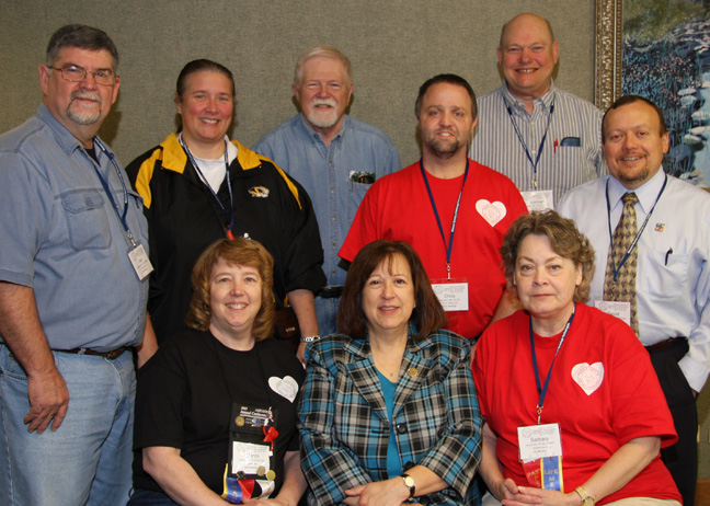 Front row (L to R):   Donita Shipman, Joan Hedrick, Barbara Hente.   Back row (L to R):   Danny Cantrell, Debra Hurst, Darrell McKay, Christopher Harmon, Norman Hente and David Frazier.