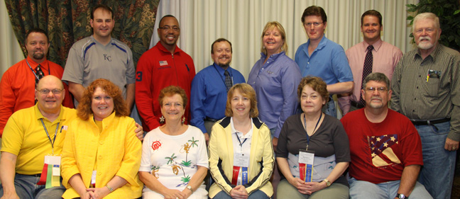 Front row (L to R):  Norman Hente, Pamela Fulmer, Coretta Schroer, Donita Shipman, Barbara Hente, Danny Cantrell.  Back row (L to R):  Christopher Harmon, Benjamin Morris, Michael D. Ward, David Frazier, Cynthia Daniels, Shawn Snyder, Eric Rogers and Darrell McKay