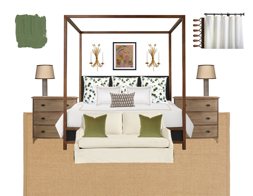 Links:  bedding  |  beige throw pillow  |  green throw pillows  |  bed  |  nightstands  | l ove seat  |  lamps  |  sconces  |  art  |  curtains  |  rug  |  paint