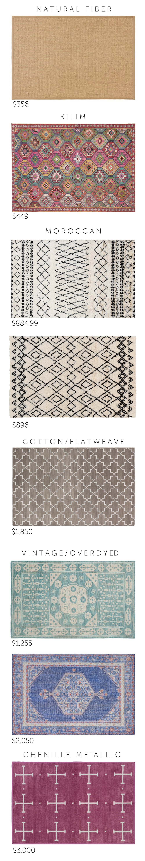 natural fiber  |  kilim  |  moroccan 1  |  moroccan 2  |  cotton/flatweave  |  vintage/overdyed 1  |  vintage/overdyed 2  |  chenille metallic