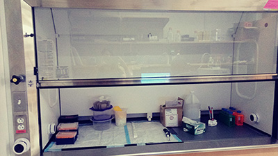 Before: Cluttered fume hood