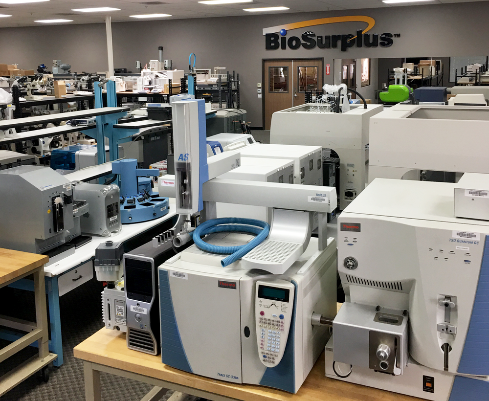 Laboratory equipment in the BioSurplus showroom.
