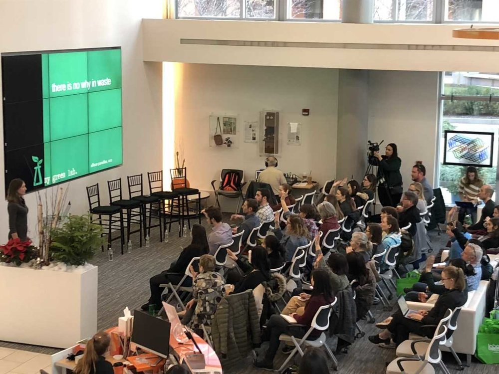 Over 50 Cambridge area life scientists attended the Go Green in 2019! event at the thriving biotech hub, LabCentral. Practical information was presented by My Green Lab, Grenova, Triumvirate Environmental, Harvard University's Office of Sustainability and UMass Medical School's Growing Green program.
